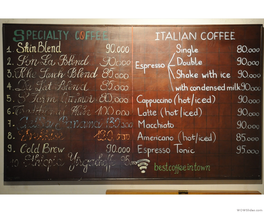 Talking of which, there's also a comprehensive menu: filter, left; espresso, right.
