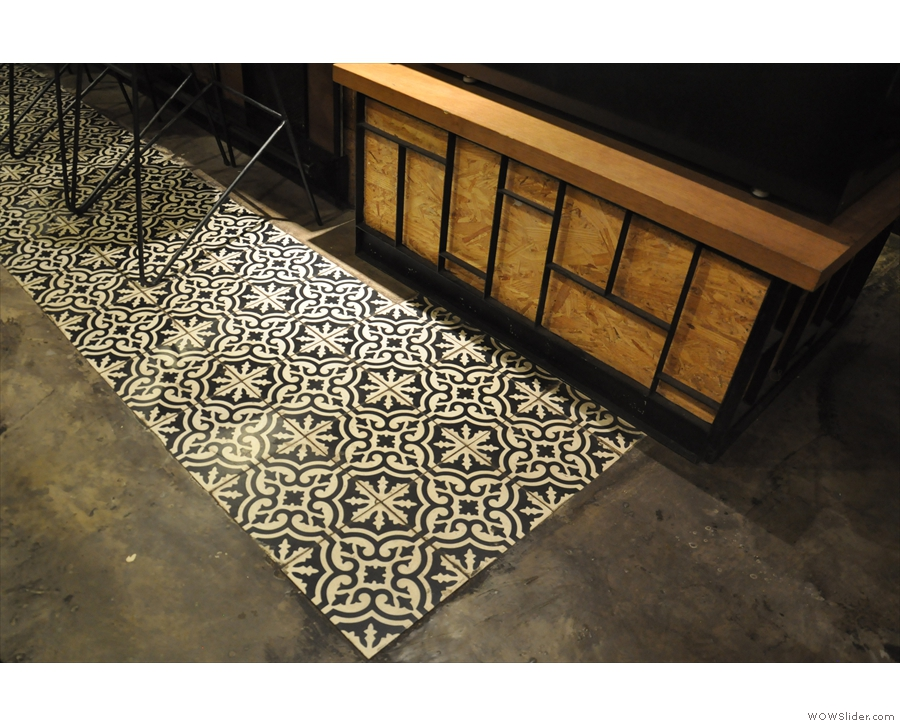 Back downstairs, and I loved the tiles on the floor by the counter.