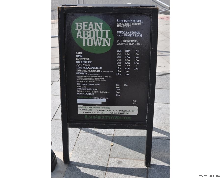 The standard Bean About Town Offering.