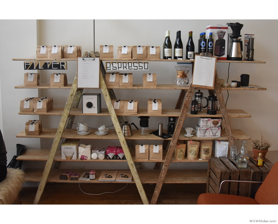 White Label Coffee roasts all its own coffee. There's a generous retail section at the front.