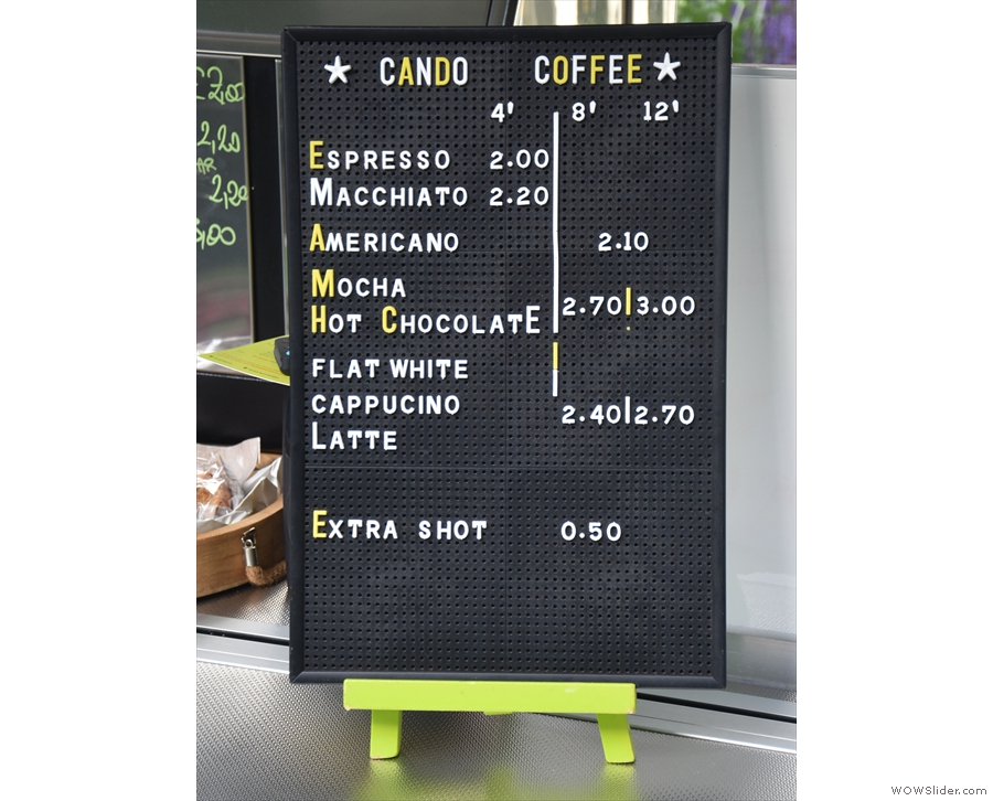 The price list is off to the right: it's pretty much espresso-based coffee drinks...
