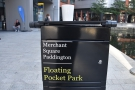 This is the Merchant Square end of the basin, the patch of green, the Floating Pocket Park.