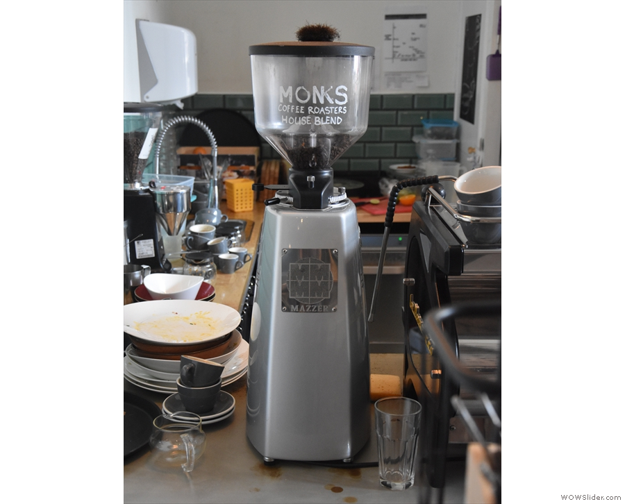 ... with its grinder in the corner, Monks' own blend in the hopper.