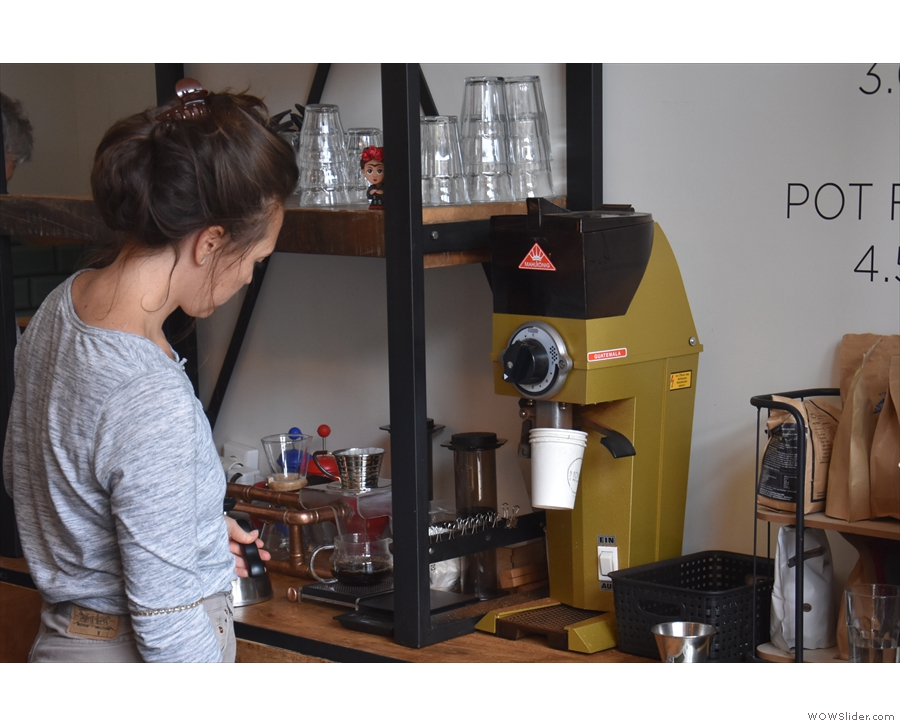 There's a pour-over station behind the espresso machine...