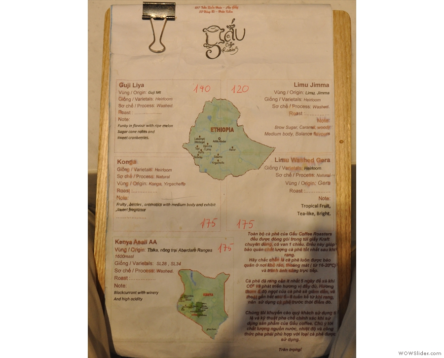 ... while the second page has detailed notes on the origins on offer.