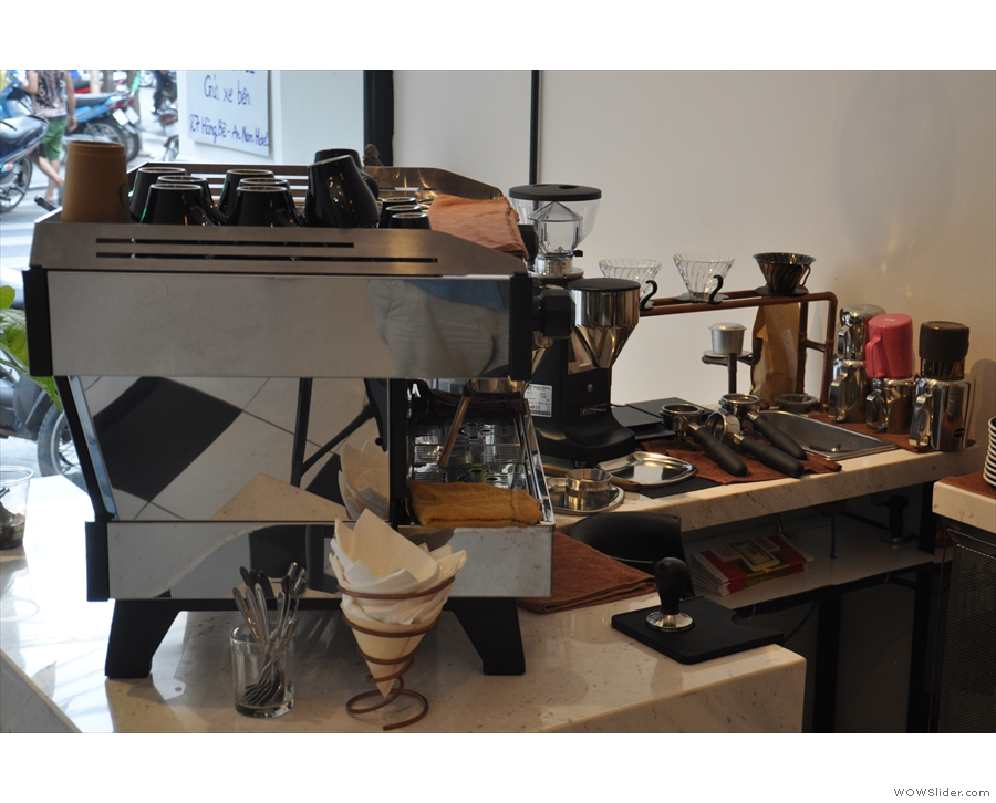 Alternatively, sit at the side and you get a good view of the espresso machine in action...