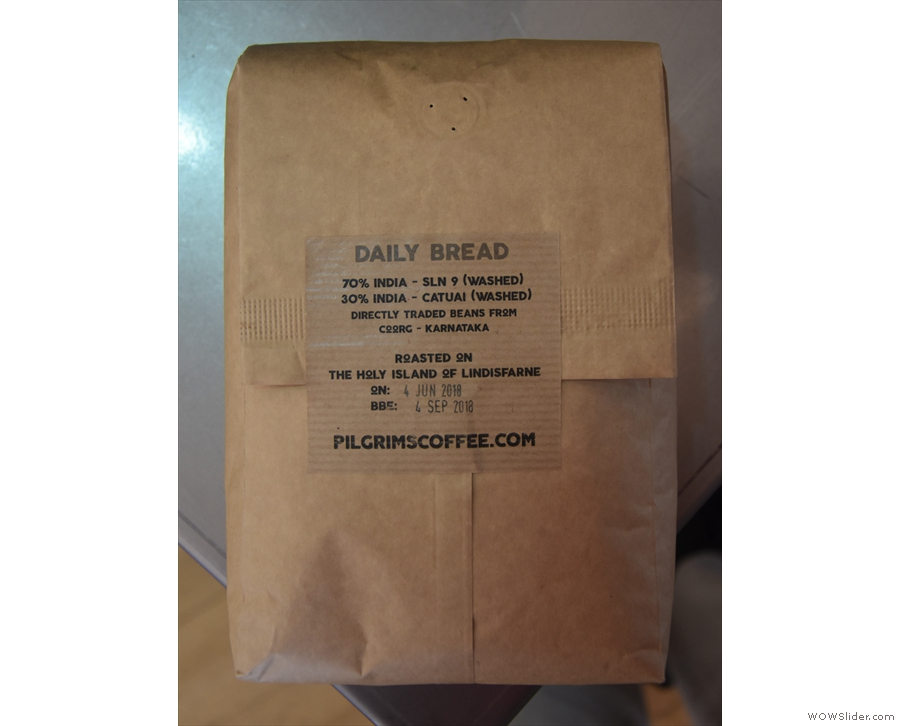 Called Daily Bread, it's unusual in that it's a blend of Indian coffees.