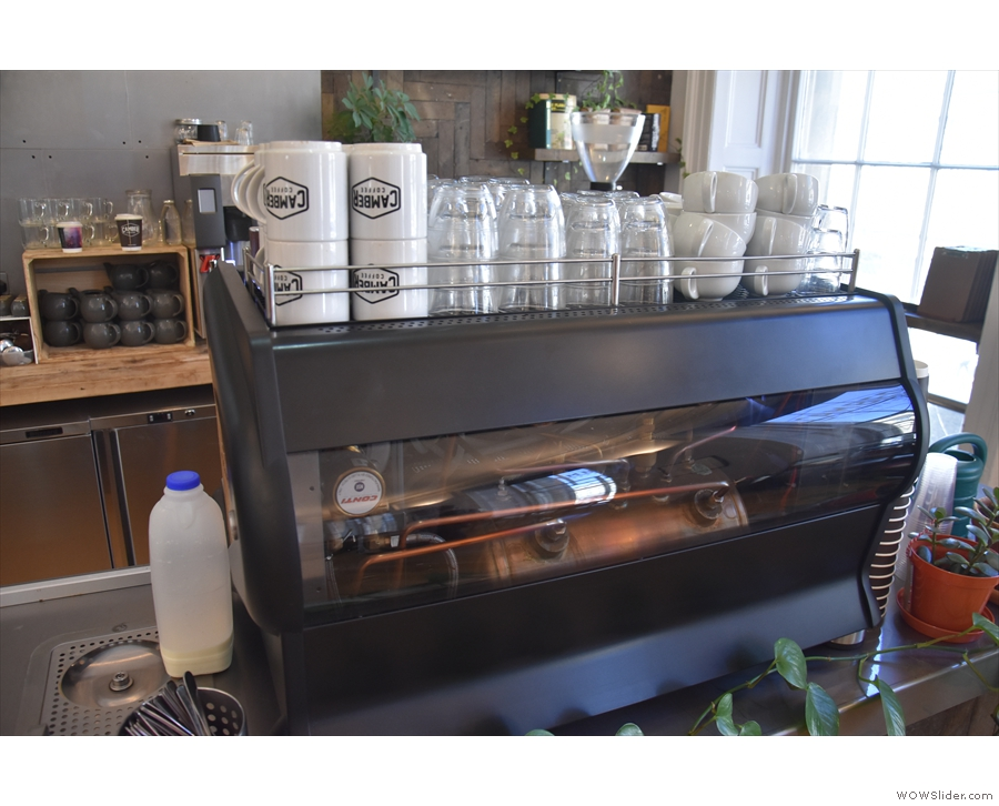 The Conti espresso machine has a transparent front panel, so you can see its workings.