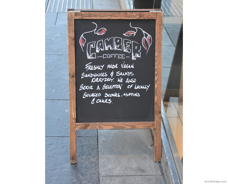The A-board confirms that we're not just seeing things. There really is a Camber Coffee.