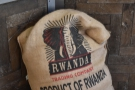 ... it's a Rwandan single-origin. Here's my coffee with a sack the green beans arrived in.