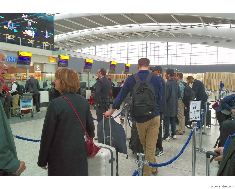 Back at Heathrow Terminal 5 and what's this? A queue for business class check-in!