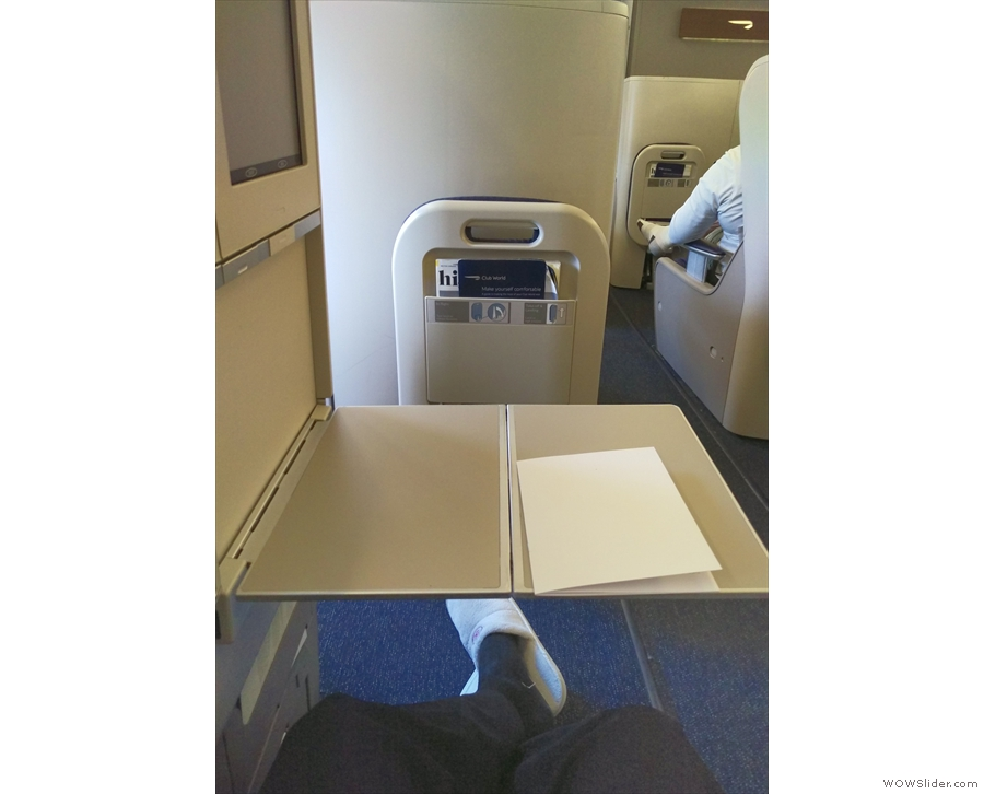My leg room once again, this time with the table down.