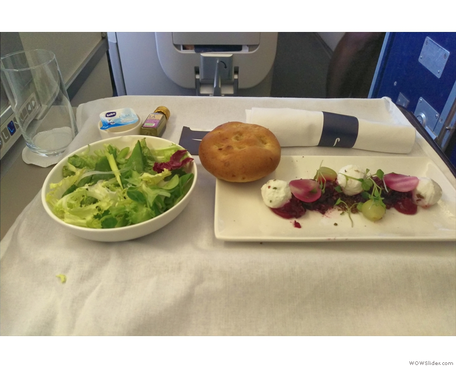 ... I'd pre-ordered a vegetarian meal. My starter, goat's cheese and beetroot.