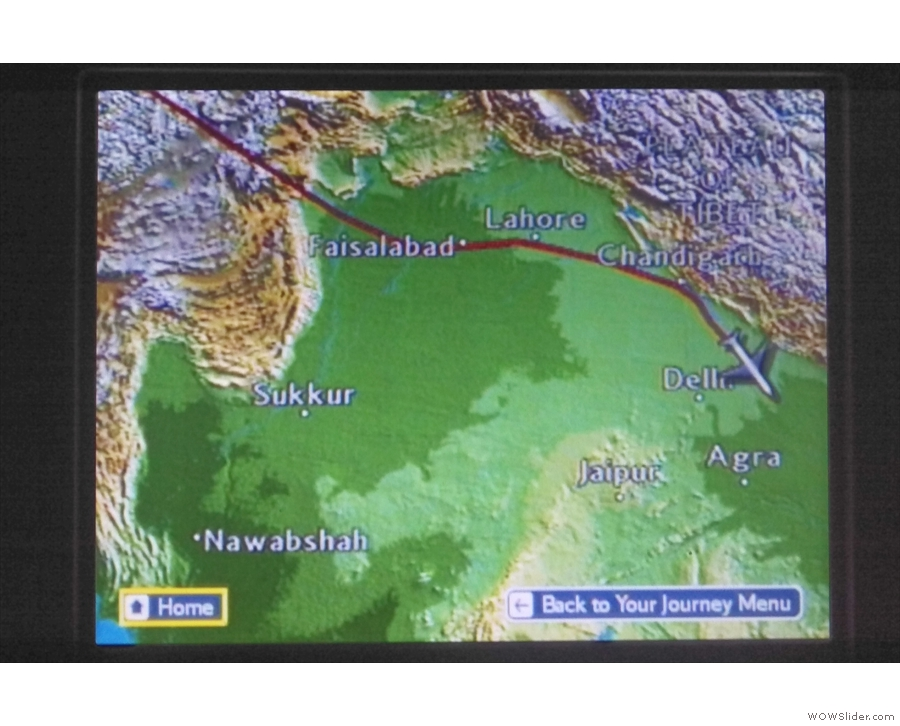 In fact, we're just north of Delhi, having not long since crossed over from Pakistani airspace.