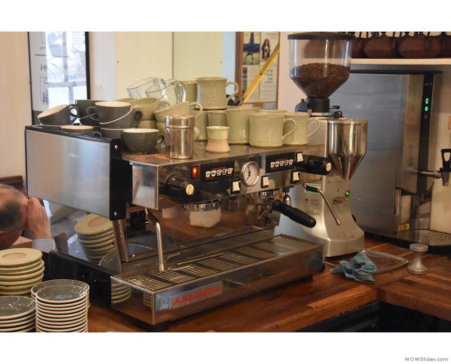 The espresso machine is at the front, which is also where you collect takeaway coffee.