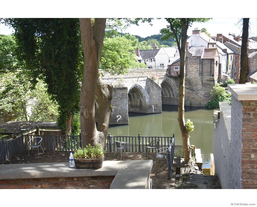 ... which leads to a series of terraces overlooking the river and Elvet Bridge...