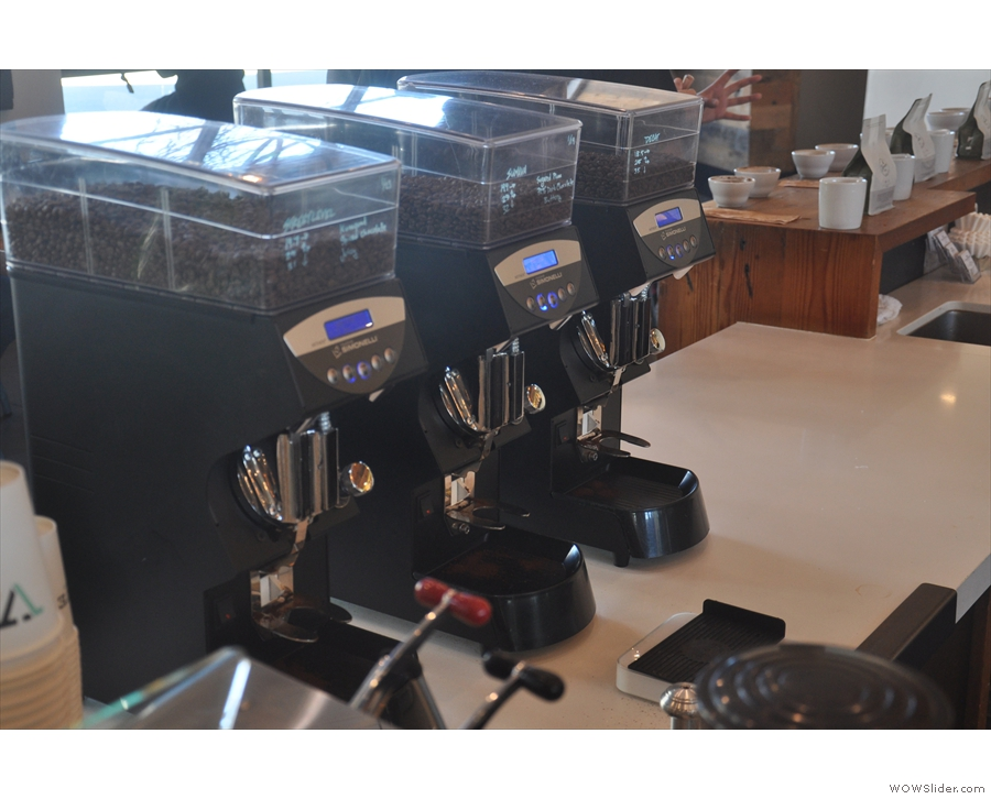 Each has three Mythos 1 grinders which are down the sides of the counter.