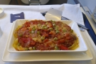Next up, my main course, delayed by turbulence, was pasta in tomato sauce.