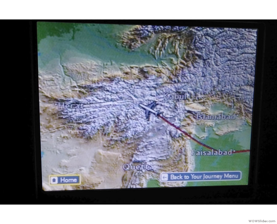 After a two-hour nap, I woke up over Afghanistan, having flown over India & Pakistan.