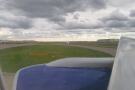 Last shot of the flight as we taxi off the end of the runway.
