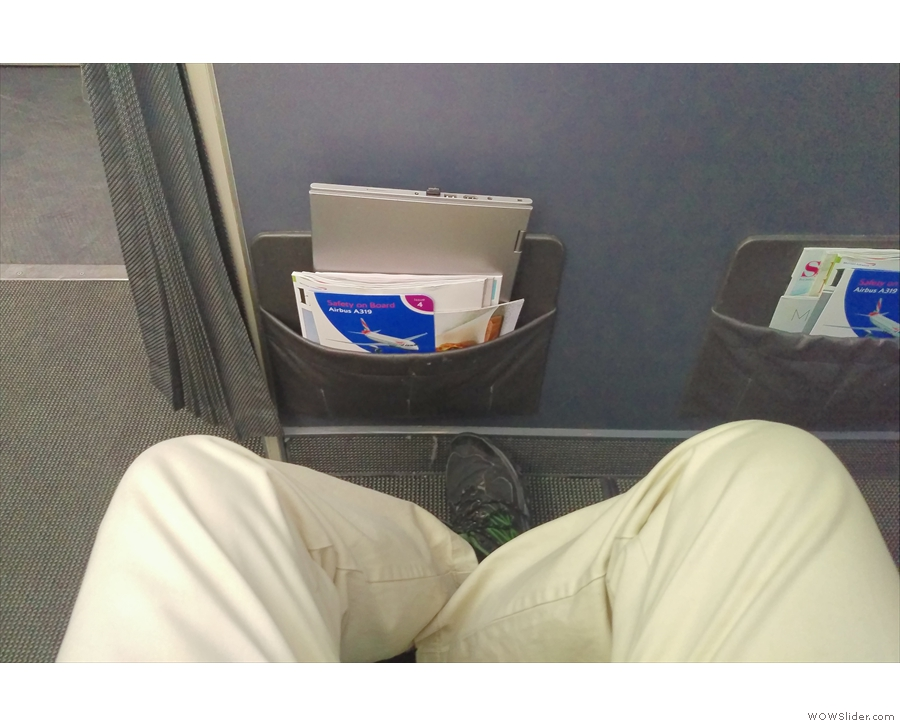 This wasn't my original seat, but it was free, so I moved. Behold, leg room!