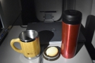 And here it is at my seat, my new Wakecup at hand to try it out. With a biscuit, of course.