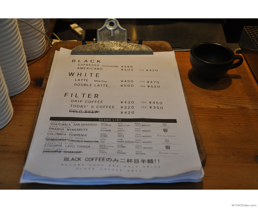 There's also a paper menu on the counter-top of the main hatch.