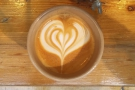 Lovely latte art, by the way, which, impressively...