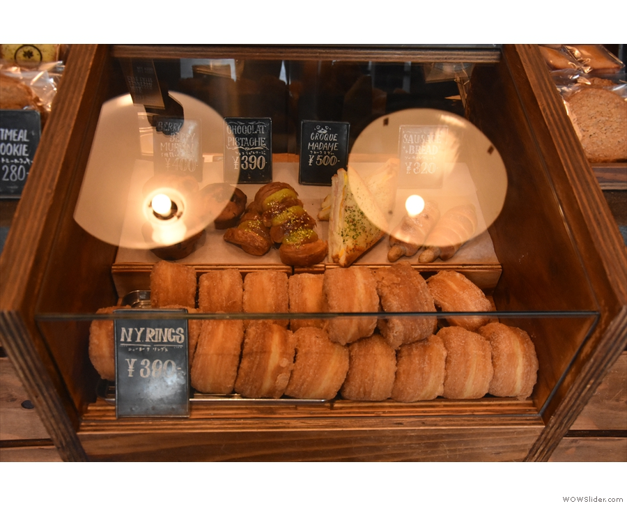 There's a small selection of sweet and savoury things in the display case at the front.