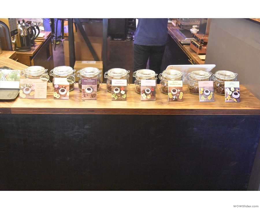 ... while the selection of beans (all eight of them) is lined up in jars along the front.