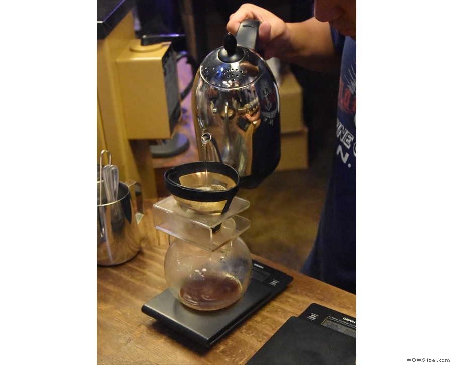 The pour over is made off to the left, where you can watch. This is the first coffee shop...