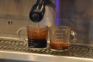 ... is split between it and another jug, producing a three-shot and a one-shot.