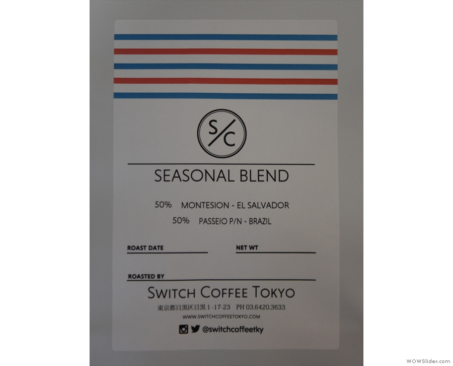 The espresso, by the way, is Switch's seasonal blend...