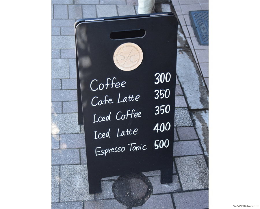 The A-board doubles as a menu...