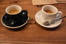 A more conventional presentation of the coffee, with the Honduran on the right.