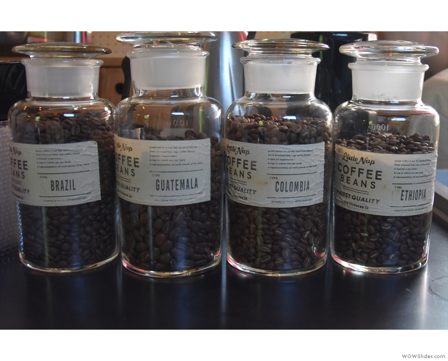 ... where the choice of beans are displayed in jars.
