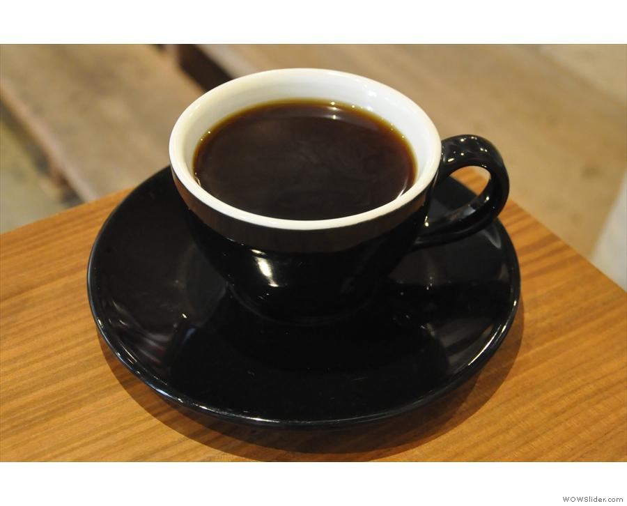 My coffee, a Yirgacheffe Wolleka, ready for drinking.