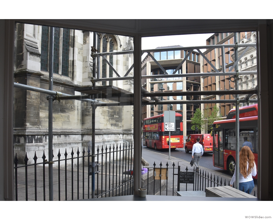 The view out of the window, looking past the church of St Mary Aldermary on the left.
