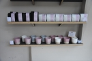 The bottom shelf, meanwhile, has the lovely ceramic cups that Rosslyn uses...