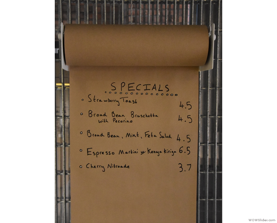 ... while there's also a paper roll with the day's specials on it.