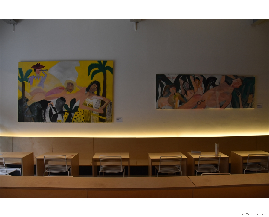 The decor in Mother Espresso is fairly minimal, but paintings grace the left-hand wall.
