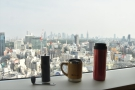My coffee, admiring the views first thing in the morning...