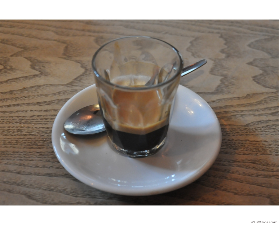 My delightful espresso. In a glass.