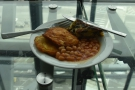 I sat here and had a makeshift vegetarian breakfast...