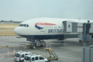 My ride to Tokyo, a Boeing 777-300 at Gate B38 at Heathrow Terminal 5. You can't see it...