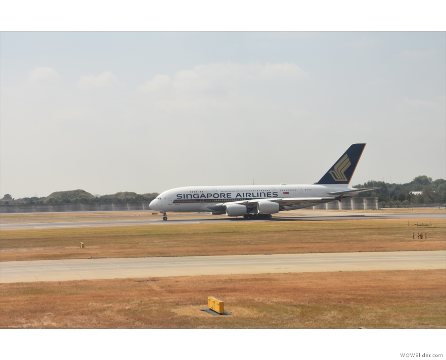 The end is in sight! This Singapore Airlines A380 is sitting on the runway waiting to go.
