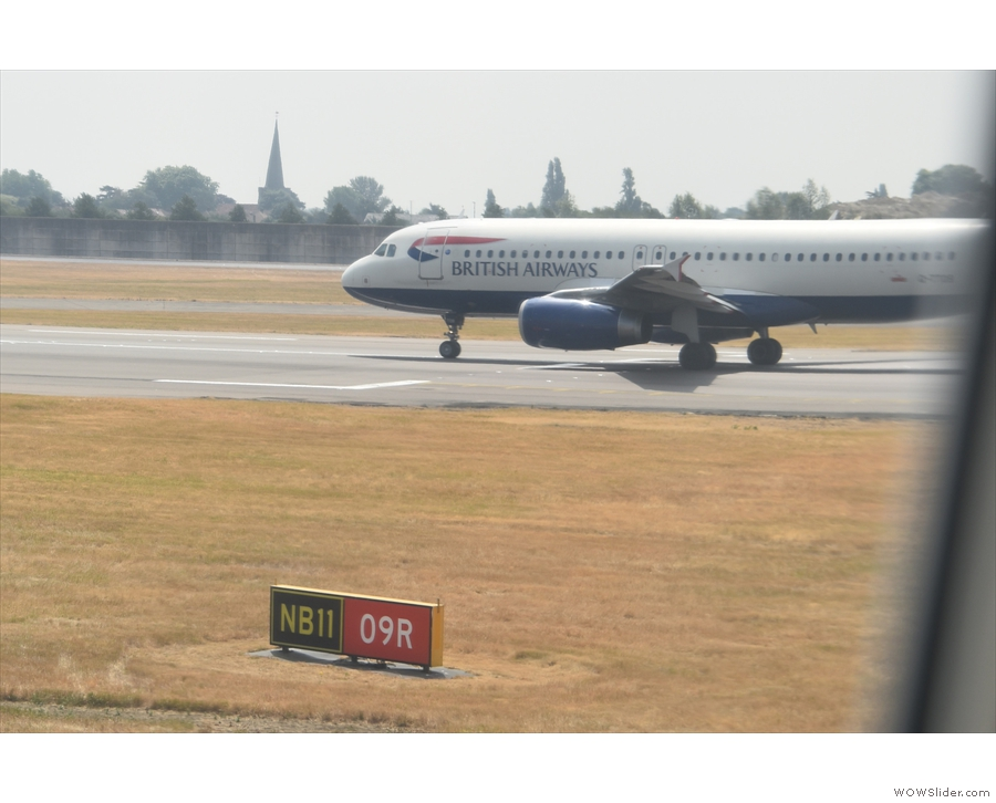 The A320 ahead of us is at the end of the runway...