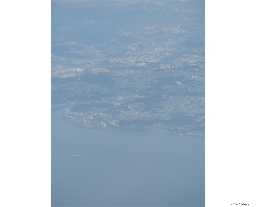 We've actually gone around to the north of Tokyo and are now flying east along the coast.