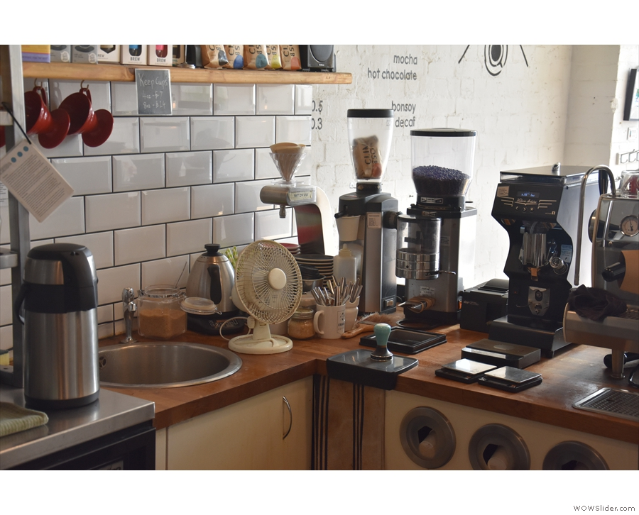 There's the usual espresso-based options, plus decaf and a pour-over option via the V60.