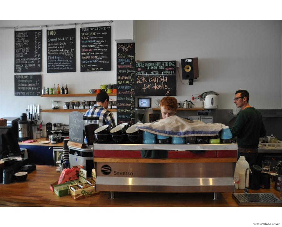 And the espresso machine, with Matthew (right) and staff working feverishly away.